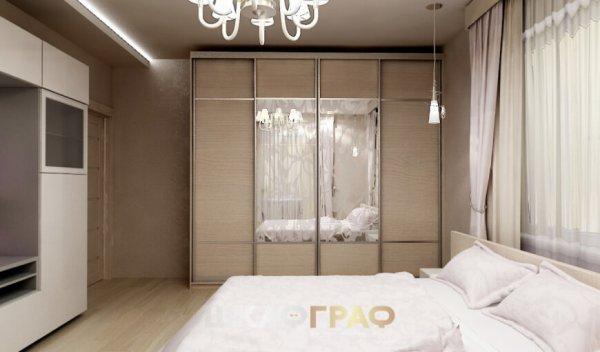 Комбинированный шкаф-купе в спальню с пескоструем Graf № 51 1