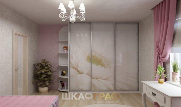 """Шкаф-купе в детскую с фотопечатью """"Цветок"""" Graf № 83 1"""