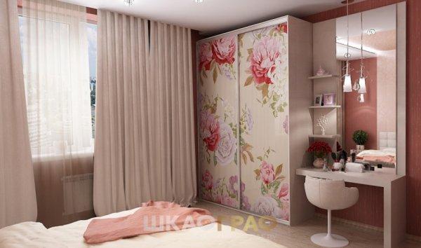 """Шкаф-купе в спальню с фотопечатью """"Цветы"""" Graf № 88 2"""