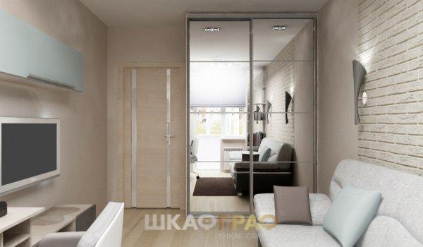 Шкаф-купе в гостиную с зеркальными дверями Graf № 63 1