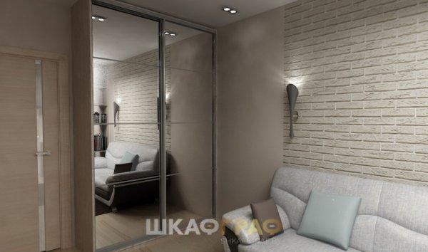 Шкаф-купе в гостиную с зеркальными дверями Graf № 63 2
