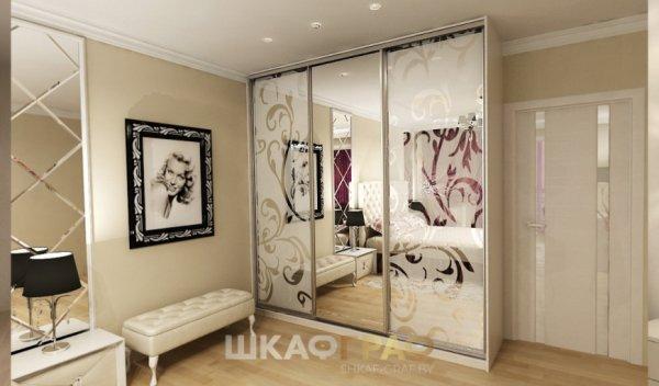 Шкаф-купе в спальню с пескоструйным рисунком Graf № 70 1