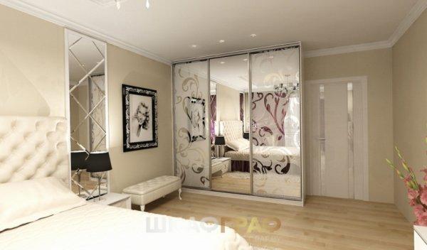 Шкаф-купе в спальню с пескоструйным рисунком Graf № 70 2