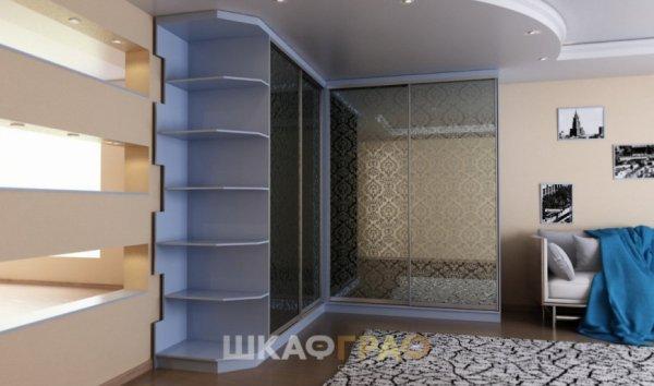 Угловой шкаф-купе в гостиную с фотопечатью Graf № 57 2