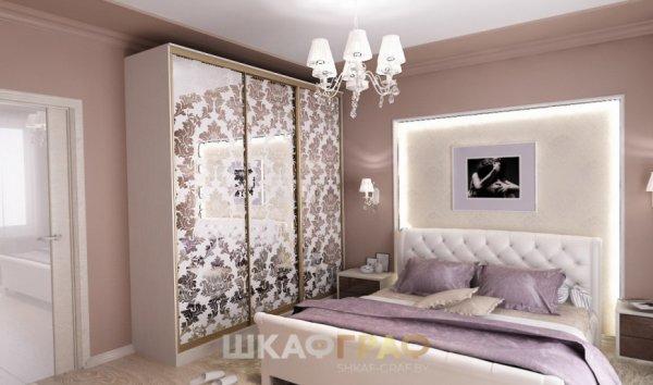 Шкаф-купе в спальню с пескоструйными узорами Graf № 73 2