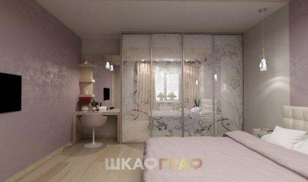 Шкаф-купе в спальню с пескоструйным рисунком Graf № 81 1