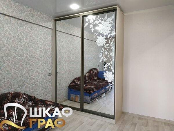 Зеркальный двустворчатый шкаф-купе с пескоструем