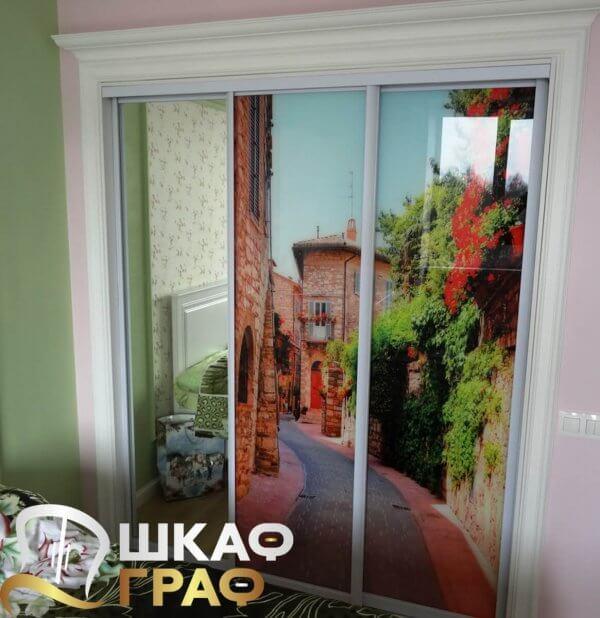 Шкаф-купе для спальни с фотопечатью прованс
