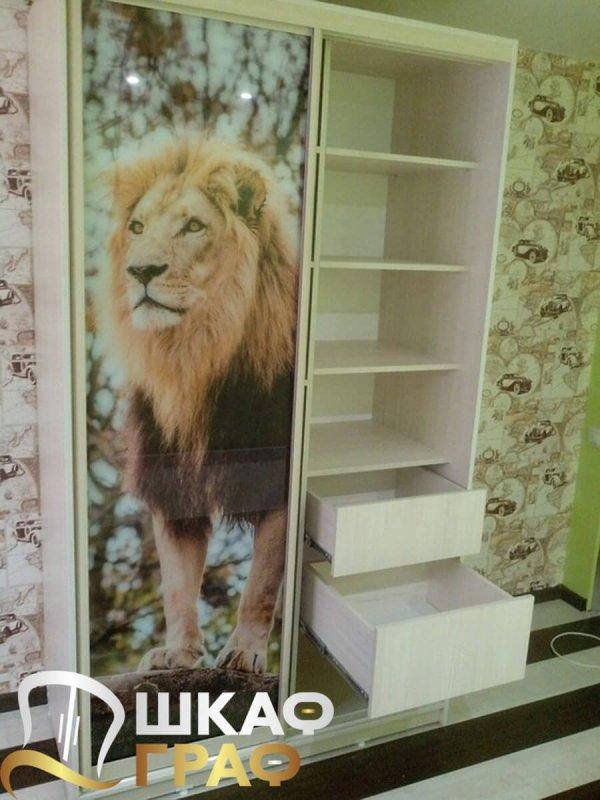 Шкаф-купе в спальню с фотопечатью лев
