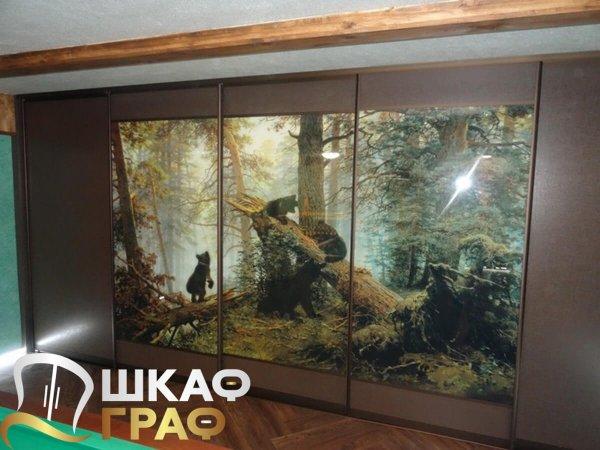 Шкаф-купе для спальни с фотопечатью утро в сосновом лесу