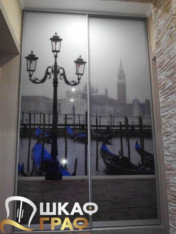 Шкаф-купе в спальню с фотопечатью венеция