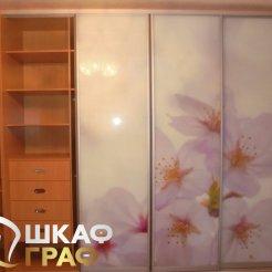 Корпусный шкаф-купе с боковыми полками и фтопечатью цветы