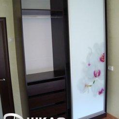 Шкаф-купе с двумя дверями в спальню с фотопечатью весна