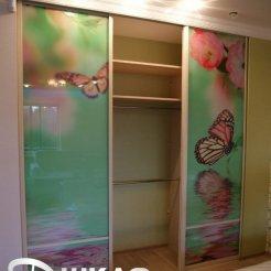 Шкаф-купе в спальню с фотопечатью бабочки
