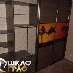 Трехдверный шкаф-купе с фотопечатью закат на острове
