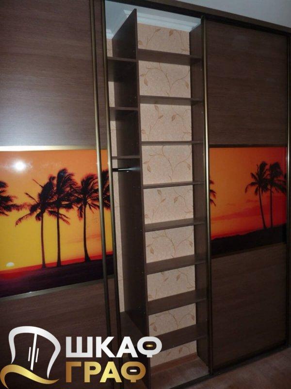 Трехстворчатый шкаф-купе с фотопечатью закат на острове