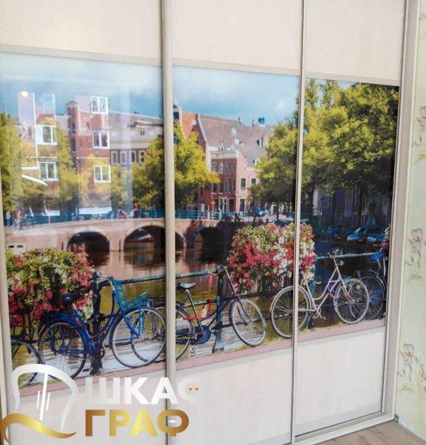 Шкаф-купе для спальни с фотопечатью амстердам