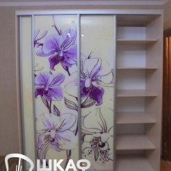Линейный шкаф-купе для спальни с фотопечатью ирисы